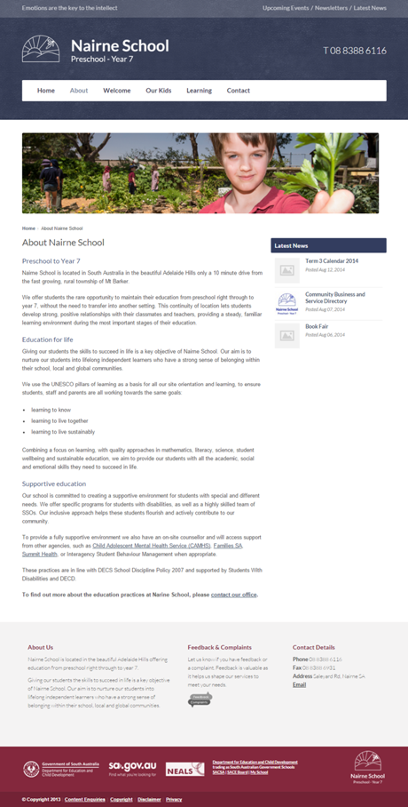 Nairne School Website Copywriting screenshot